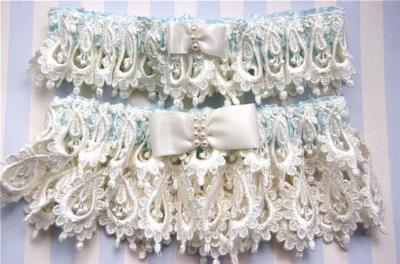 Ivory And Blue Wedding Garter Set Wedding Garter Set Unique Lace Wedding Garters 2386127