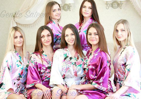 زفاف - Set of 9 Bridesmaid Satin Robes, Kimono Robe, Fast Shipping from New York, Regular and Plus Size Robe