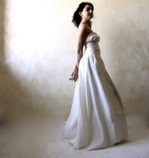 Peasant Wedding Dress Wedding Gown Long Wedding Dress Silk Dress