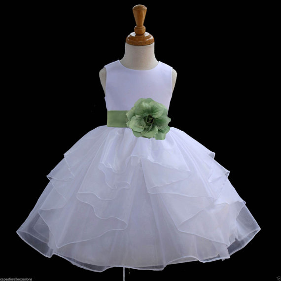 Mariage - White Flower Girl dress tie sash pageant wedding bridal recital children tulle bridesmaid toddler 37 sash sizes 12-18m 2 4 6 8 10 12