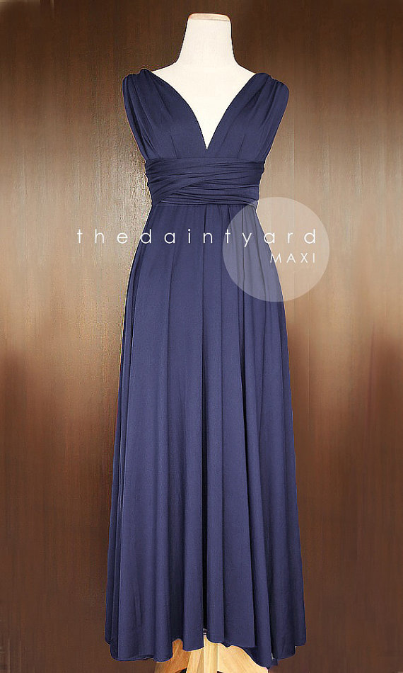 Maxi midnight blue bridesmaid dress convertible dress for Midnight blue wedding dress
