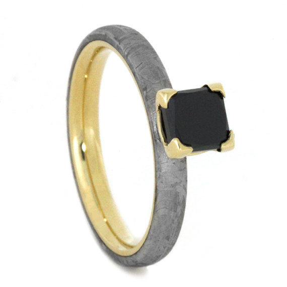 Свадьба - Princess Cut Black Diamond Engagement Ring, 14k Yellow Gold Ring With Meteorite Overlay, Unique Engagement Ring