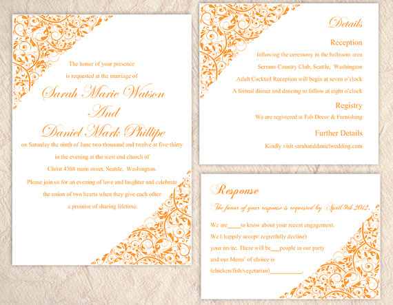 Text For Wedding Invitations: DIY Wedding Invitation Template Editable Text Word File