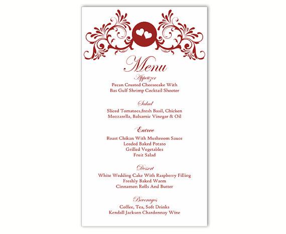 Wedding Menu Template DIY Menu Card Template Editable Text Word File ...