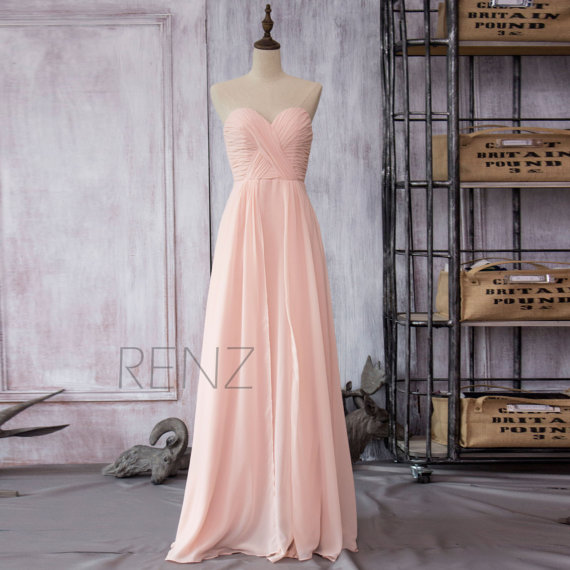 Mariage - 2015 New Peach Chiffon Bridesmaid dress, Wedding dress, Party dress, Formal dress, Elegant Dress, Pleated Dress Floor-length (F080)