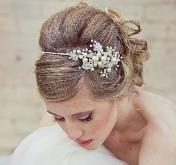 Rhinestone Wedding Tiara With Wired Flowers And Pearls Wedding ...