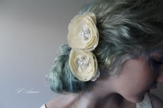Wedding - Ivory Cream and Sort Champagne Wedding Bridal Hair flower clip, Headpiece ,Wedding Accessories, Set of 2