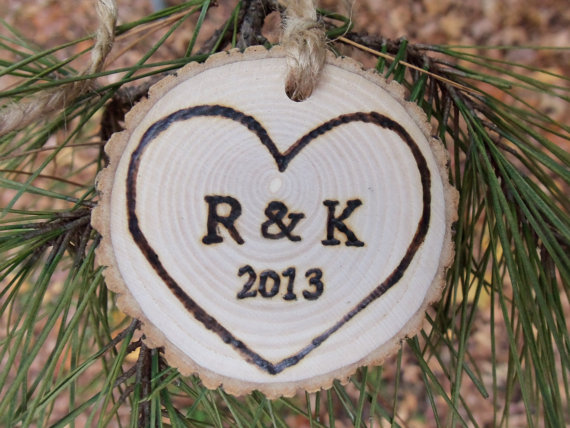 Свадьба - Quick Shipping - Natural Ash Tree Branch Ornament - With Initials and Year