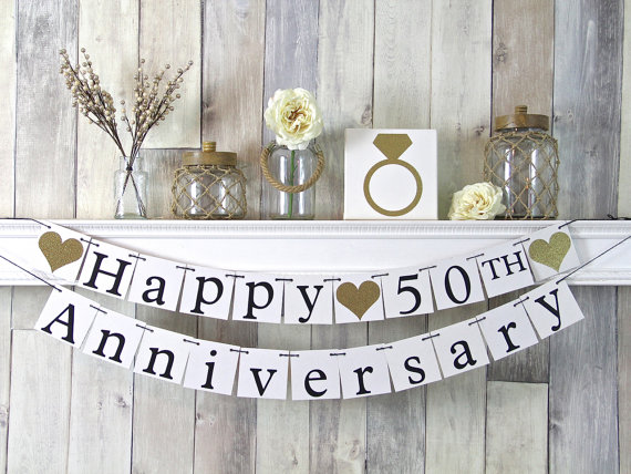 Hochzeit - 50th Anniversary Banner, Happy Anniversary Banner, Anniversary Party Decor, Gold