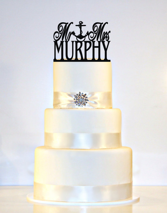 "Mariage - Wedding Cake Topper Or Sign Fouled Anchor Monogram  personalized with ""Mr & Mrs"" and YOUR Last Name"