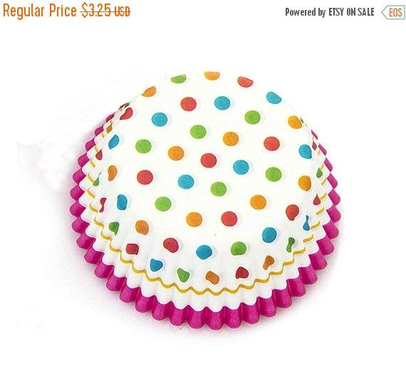 زفاف - FINAL SALE - Colorful Polka Dot Hot Pink Lace Cupcake Liners (50)