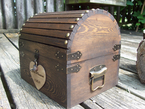 Mariage - Wedding Card Box - Rustic Wood Treasure Chest with CARD SloT and LOCK-KeY Set - ALL Inclusive