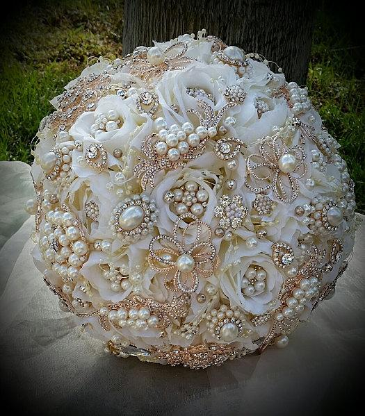 Hochzeit - Ivory and Rose Gold Bouquet - Balance for Completed Order for Erin