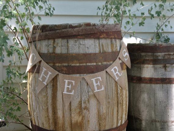 زفاف - Cheers burlap Banner In  white lettering, bunting, new years banner,