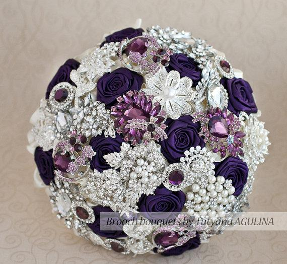 Brooch Bouquet Purple Ivory And Silver Wedding Brooch Bouquet Jeweled Bouquet Made Upon