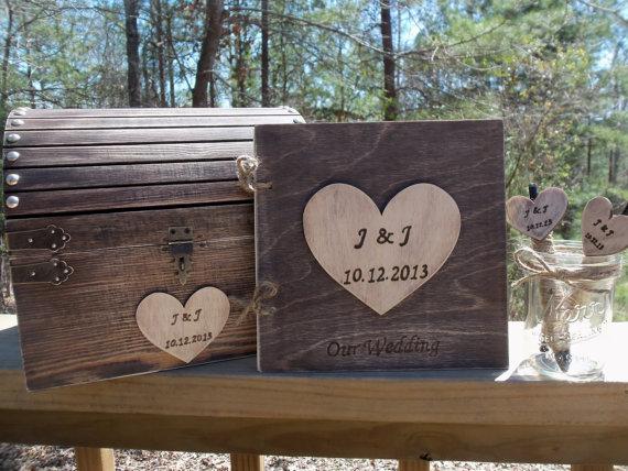 زفاف - Rustic Wedding Set - Treasure Chest - Matching Guest Book and Pen Set - - SAVE by buying the Set