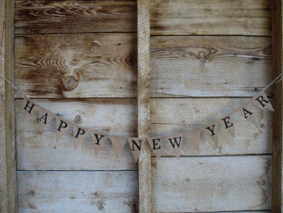 Свадьба - Happy New Year burlap banner, photo prop