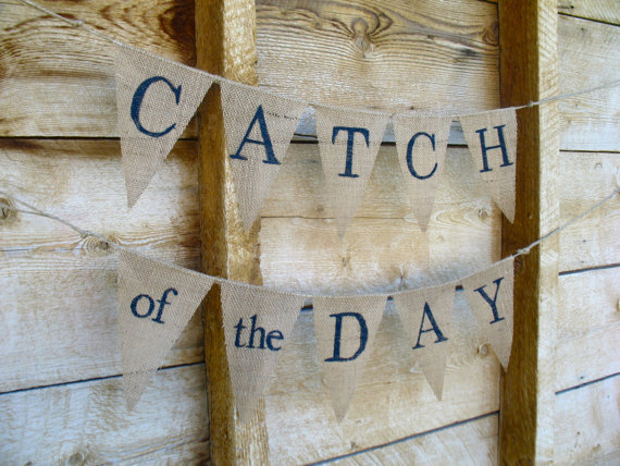 Свадьба - Catch of the Day double burlap banner, bunting, garland, navy blue, nautical, sea side, beach