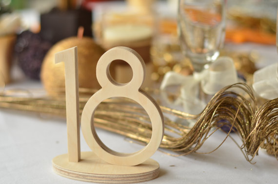 1-20 Wooden Table Numbers Wedding- Gold Table Numbers Wedding ...