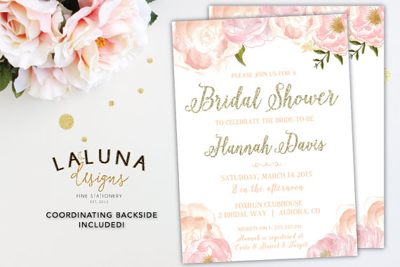 bridal shower invitation bridal shower invites pink floral shower invite glitter invitation pink gold invitation diy printable