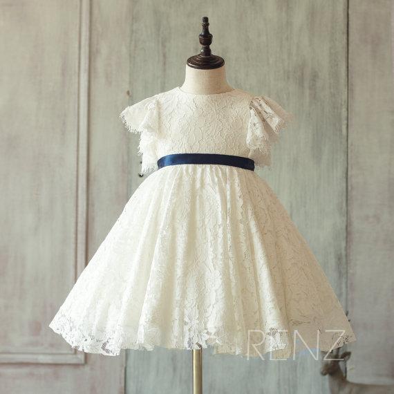 زفاف - 2015 white lace Junior Bridesmaid Dress, Ruffle Sleeve Flower Girl Dress, A line Baby Blue dress knee length (FK318)