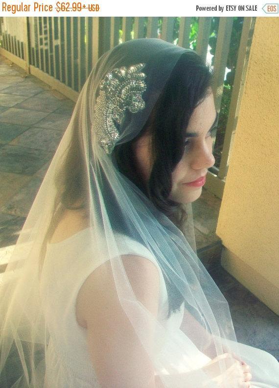 زفاف - Juliet Cap Veil- White Ivory Veil, Beaded Wedding Veil- Bridal Cap Veil, Gatsby Veil, Fingertip Veil with Blusher Crystal Bridal Veil Chapel