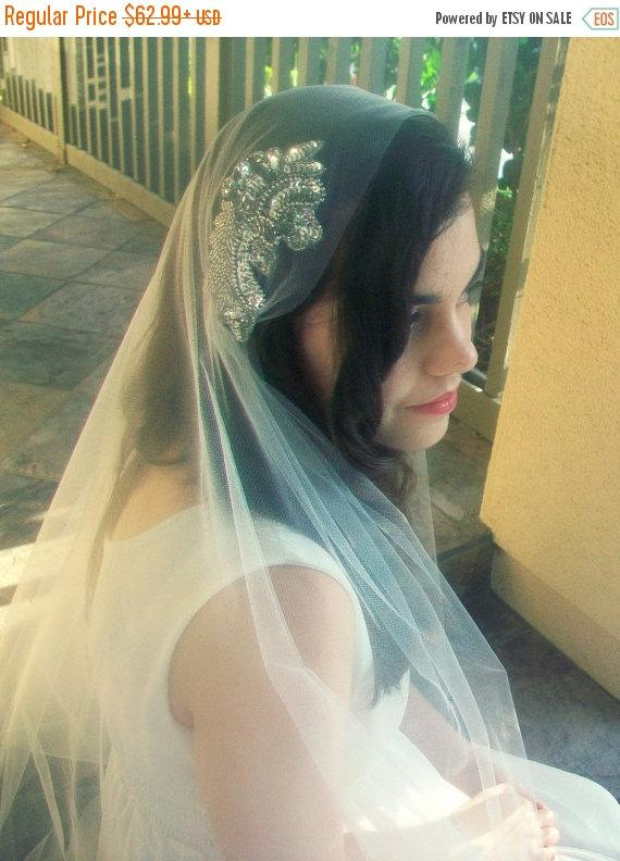 Mariage - Juliet Cap Veil- White Ivory Veil, Beaded Wedding Veil- Bridal Cap Veil, Gatsby Veil, Fingertip Veil with Blusher Crystal Bridal Veil Chapel