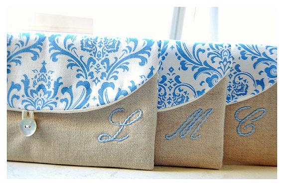 زفاف - Blue clutch purse Set 3 4 5 Personalized Bridesmaid Gift Bridesmaid Clutch Wedding Clutch shabby chic purse for her Bridesmaid Gift Wedding