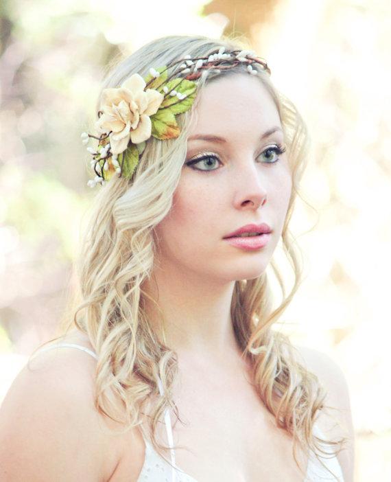 Hochzeit - bridal head piece, pine cone rose head piece, woodland wedding