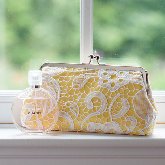 Mariage - Canary Yellow Lace Clutch for Bridesmaids and Spring Weddings