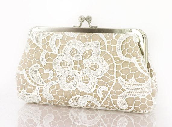 6dfe3f6d72 White And Cream Lace Clutch In Champagne #2386458 - Weddbook