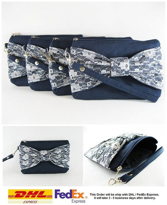 Wedding - SUPER SALE - Set of 5 Navy Blue Lace Bow Clutches - Bridal Clutches, Bridesmaid Clutches, Bridesmaid Wristlet, Wedding Gift - Made To Order