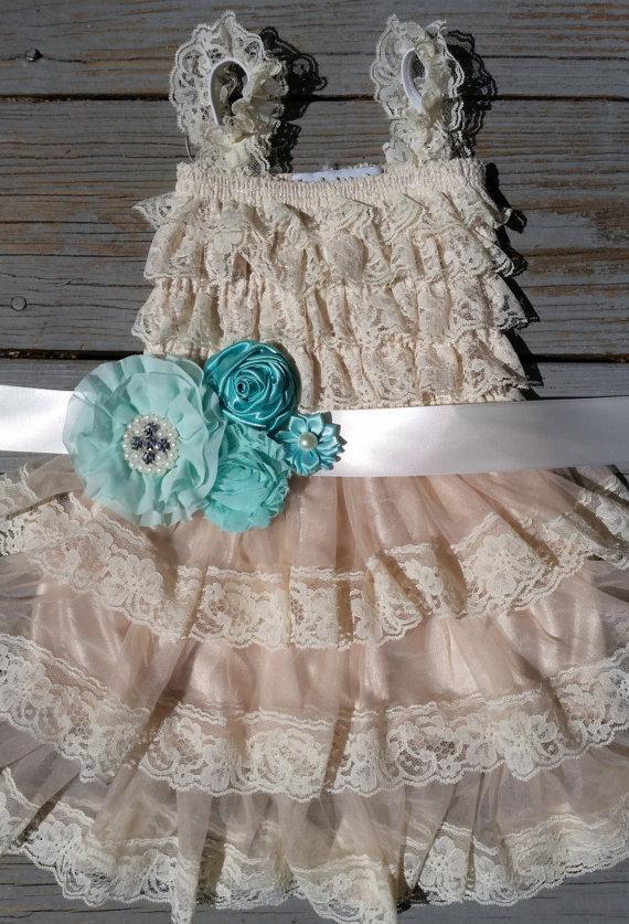 زفاف - Mint Blue Mint Blue Turquoise Flower Girl Lace Dress Rustic Flower Girl Champagne Flower Girl Lace Flower Girl Dress Ivory Lace Rustic