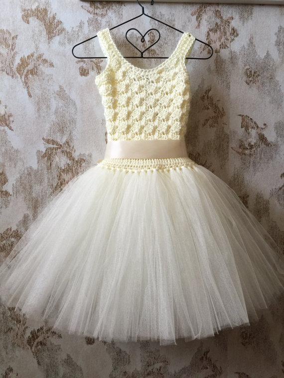 Свадьба - Ivory flower girl tutu dress, birthday tutu dress, crochet tutu dress, corset tutu dress