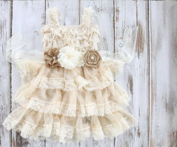 Hochzeit - Flower Girl Dress - Lace Flower Girl Dress -  Flower Girl - Country Flower Girl - Lace Dress - Country Wedding- Burlap Wedding