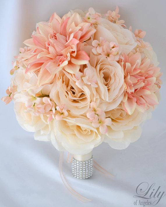 "Hochzeit - 17 Piece Package Silk Flower Bouquet Wedding Arrangements Artificial Flowers Bridal Bouquets PEACH IVORY ""Lily of Angeles"" IVPI02"