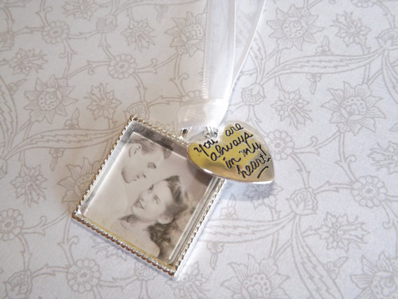 Mariage - Wedding Bouquet Memorial Photo Charm, Wedding Bouquet Charm- PICTURE PRINTING INCLUDED