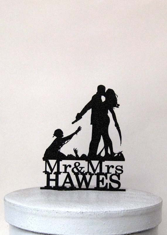 زفاف - Custom wedding cake topper - Zombieland Wedding with Mr & Mrs last name