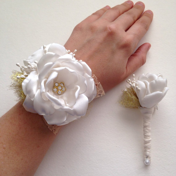 Corsage Set Ivory And Gold Boutonieere And Wrist Corsage Set