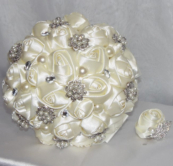Made To Order Satin Ribbon Roses Bridal Brooch Bouquet With Free