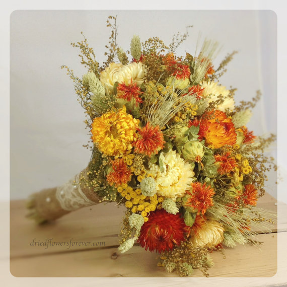 زفاف - Prairie Sunset Collection - Natural Dried & Preserved Wedding Bouquet - Bridal Bouquets - orange, cream, sage, yellow - Rustic Fall Wedding