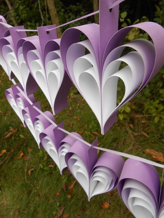 TWO Garlands Lavender White HEARTS 10 Hearts Wedding Shower Home Decor Custom Orders Welcome Any Color Available