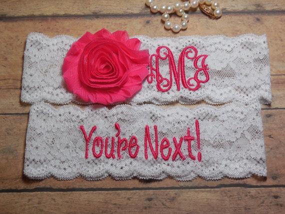 Mariage - Monogrammed Garter, Monogram, Personalized Garter, Wedding Monogram, Pink Garter, Garter, You're Next, Garter, Wedding, Hot pink Garter,