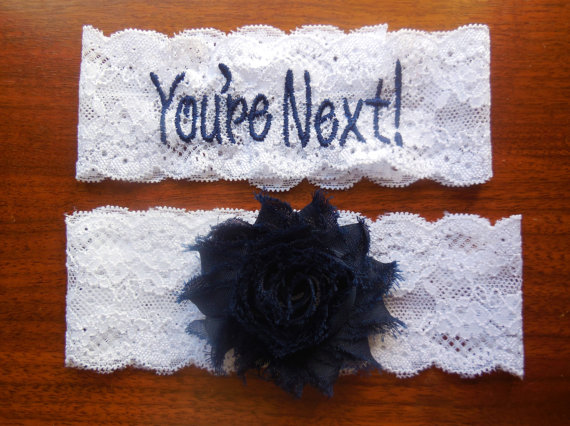 Mariage - You're Next Garter, Garter, Embroidered Garter, Personalized Garter, Custom Garter, Something Blue, Blue Garter, Navy Garter, Wedding