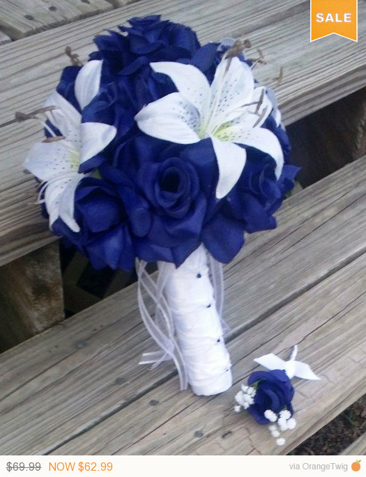 Sale royal blue rose white lily wedding bouquet with boutonniere sale royal blue rose white lily wedding bouquet with boutonniere royal blue bouquet lily bouquet royal blue white bouquet royal blue mightylinksfo