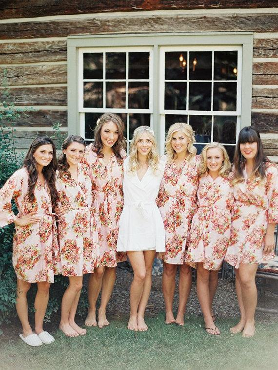 Wedding - Shabby Chic Pink Bridesmaids Robes. Kimono Crossover Robe. Bridesmaids gifts. Getting ready robes. Bridal Party Robes. Floral Robes. Gowns