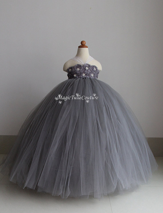 5639994225c Rustic Elegant Rhinestone Silver Grey Flower Girl Tutu Dress Gray Tulle  Dress Flower Girl Dress Wedding Dress 1T2T3T4T5T6T7T8T9T