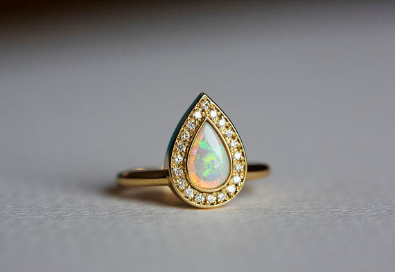 زفاف - Opal Engagement Ring, Gold Engagement Ring, Pear Engagement Ring, Pave Diamond Ring, 18k Solid Gold