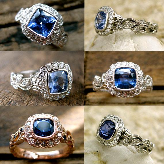 Свадьба - Order Your Blue Sapphire Vine Engagement Ring with Diamonds - For Deposit Only