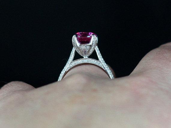 Свадьба - Pink Sapphire & Diamonds Engagement Ring Momus Crown Jewel Round Basket 3ct 9mm Custom Size White-Yellow-Rose Gold-10k-14k-18k-Platinum